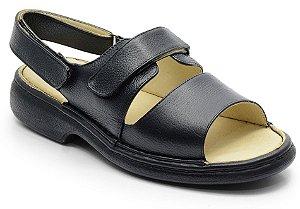 Sandália conforto em couro preto REF.588-653