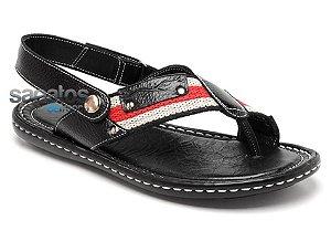 Sandália conforto em couro cor preto REF. 230-006
