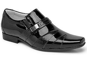 Sapato Social Tipo Italiano em Couro Verniz Cor Preto