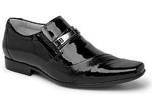 Sapato Social Tipo Italiano em Couro Envernizado Preto