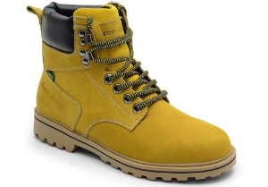 Bota coturno estilo CATERPILLAR masculino em couro cor amarelo REF. 601-1020
