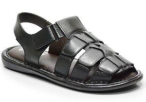Sandália conforto em couro cor preto REF. 604-502