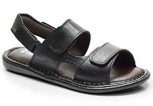 Sandália conforto em couro cor preto REF. 605-150