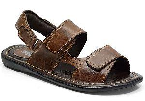 Sandália conforto em couro cor pinhão REF. 606-150