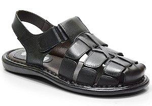 Sandália conforto em couro cor preto REF. 608-501