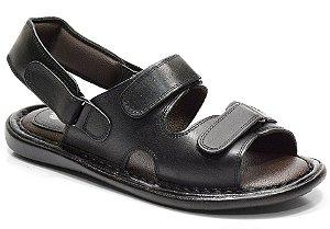 Sandália conforto em couro cor preto REF. 610-100