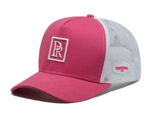 Boné Aba Curva Trucker PR Rosa Pink e Branco