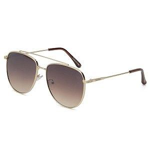 Óculos de Sol Pressão Rural Metal Caçador Unissex Dourado/Marrom Degradê