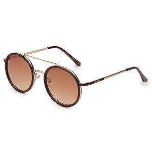 Óculos de Sol Pressão Rural Metal Feminino Redondo Marrom/Dourado