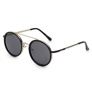Óculos de Sol Pressão Rural Metal Feminino Redondo Preto/Dourado
