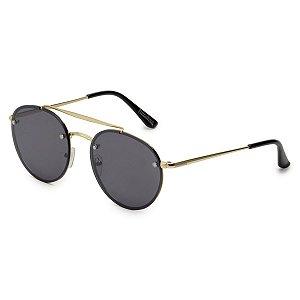 Óculos de Sol Pressão Rural Metal Unissex Redondo Dourado/Preto
