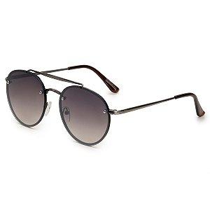 Óculos de Sol Pressão Rural Metal Unissex Redondo Prata/Preto