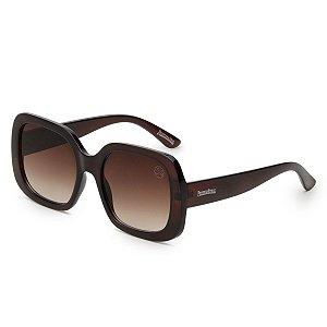 Óculos de Sol Pressão Rural Acetato Feminino Marrom Degradê