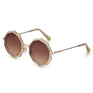 Óculos de Sol Pressão Rural Acetato Decagonal Feminino Transparente Marrom