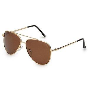 Óculos de Sol Pressão Rural Metal Aviador Unissex Marrom/Dourado
