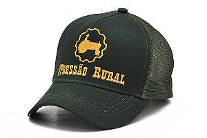 Boné Pressão Rural - Verde Musgo Bordado em amarelo