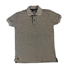 Camisa Polo Pressão Rural - Cinza Detalhe de Metal