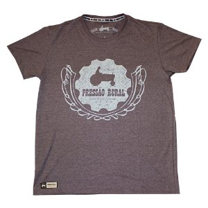 Camiseta Pressão Rural - Disco de Arado Luxo Marrom Mescla