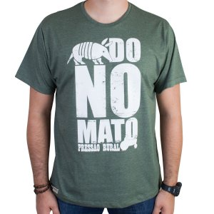 Camiseta Pressão Rural - Tatu do no Mato Verde Mescla