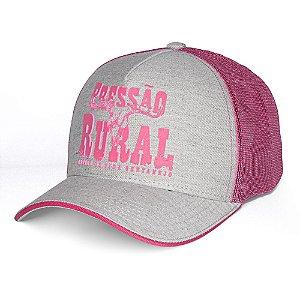 Boné Pressão Rural - Cinza Mescla e Rosa Detalhe Silkado alto Relevo Rosa
