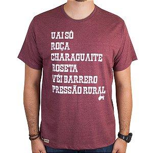 Camiseta Pressão Rural - Palavreado do Caipira Vinho Mescla