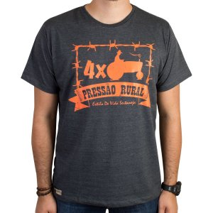 Camiseta Pressão Rural - Preto Mescla 4xTrator Arame