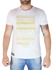 Camiseta Pressão Rural - Ave Maria Branca Silk Dourado
