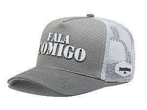 Boné Aba Curva Trucker Fala Comigo - Cinza/Branco
