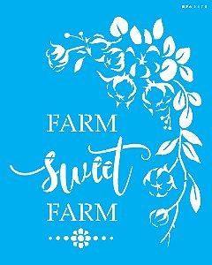 ESTÊNCIL 20X25 FRASE FARM SWEET FARM OPA3178