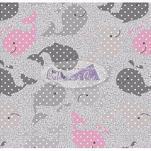 Tecido Estampado Baleinha cor - 02 (Cinza com Rosa) MEDIDAS 0,40X1,50 MTS