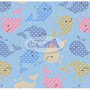 Tecido Estampado Baleinha cor - 03 (Azul com Rosa) MEDIDAS 0,40X1,50 MTS