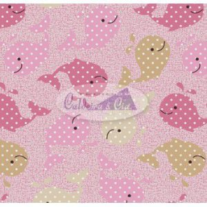 Tecido Estampado Baleinha cor - 06 (Rosa) MEDIDAS 0,40X1,50 MTS.