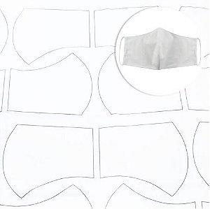 Tecido Para Máscara Riscado Circulo  Branco 0,58cm X 1,44mts