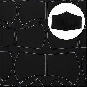 Tecido para máscara riscado cor Preto 0,58 x 1,44 mts