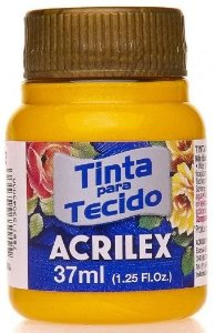 TINTA PARA TECIDO ACRILEX METALICA AMARELO 37 ML