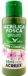TINTA ACRILICA FOSCA VERDE OLIVA NAT. COLORS 60 ML ACRILEX