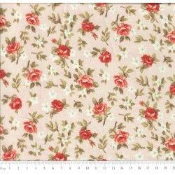 Tricoline Caldeira Estampado Florido Lúcia Cor 03 - Salmão- Medidas 0,40x1,50