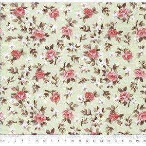 Tricoline Caldeira Estampado Florido Lúcia Cor 06 - Verde Com Coral - Medidas 0,40x1,50