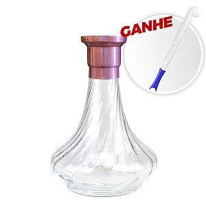 Vaso MDI Genie 26CM Rigado Rosê + Brinde Escova Para Vaso