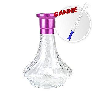 Vaso MDI Genie 26CM Rigado Rosa + Brinde Escova Para Vaso