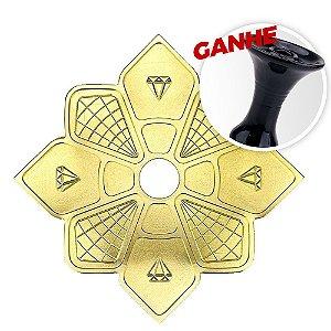 Prato Diamond Hookah Dourado + Brinde Rosh Black Hookah Preto