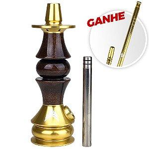 Stem Narguile Marajah Umbrella Nano Dourado/Marrom Brilhante + Brinde Piteira ZH