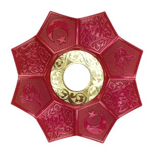 Prato EBS Hookah Zamac Lotus M 22cm - Vermelho/Dourado
