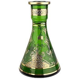 Vaso Bohemian Egermann Tower Knight Shield 26cm - Light Green