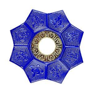 Prato EBS Hookah New Lotus P 18cm - Azul Escuro/Dourado