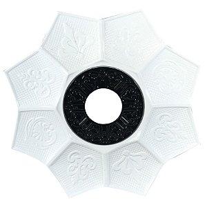 Prato EBS Hookah New Lotus M 22cm - Branco/Preto