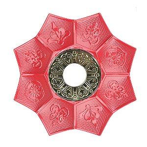Prato EBS Hookah New Lotus M 22cm - Vermelho/Dourado