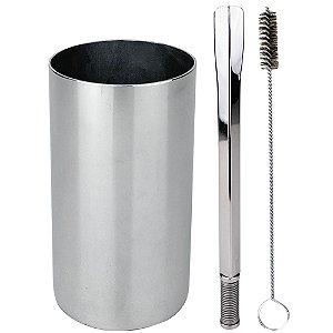 Kit Terere Copo Redondo e Bomba Quadrado Aço Inox - Cromado