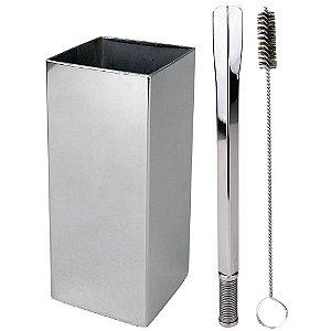 Kit Terere Copo Quadrado e Bomba Quadrado Aço Inox - Cromado