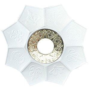 Prato EBS Hookah New Lotus G 27cm - Branco/Dourado